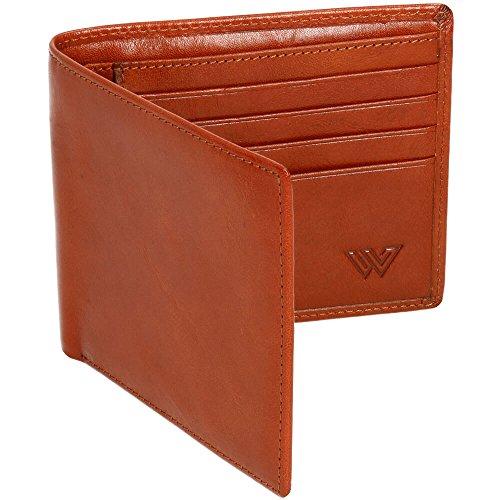 Wie Flache Geldbörse (Walletech RFID - Portemmonaie aus italienischem Leder für Herren; schlankes, elegantes RFID-Block Bifold - Portemonnaie zum Schutz von Kreditkarten (Hellbraun))