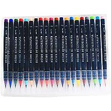 DarweirlueD Instrumentos de escritura 20 colores suave punta acuarela pinceles rotulador dibujo caligrafía herramienta multicolor