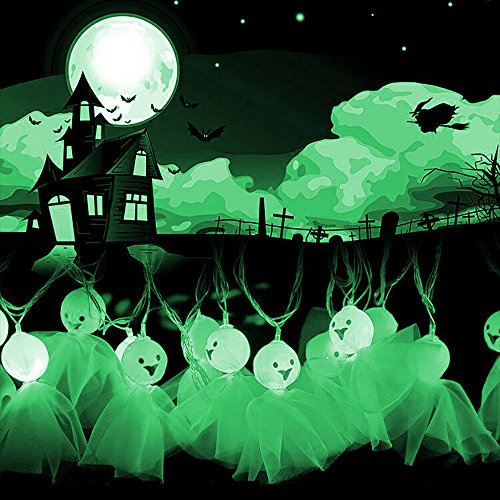 Halloween Dekorationen LED Ghost Lichterketten - ELINKUME 20 Grünes Licht LEDs 2,5 m / 8,2 ft Match Gaze Batteriebetrieben für Indoor, Covered Outdoor, Cosplay, Halloween-Partys, Inneneinrichtungen (Kürbis-halloween-kostüm Sie Machen Ein)