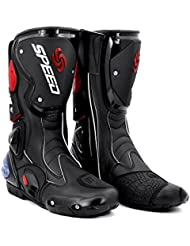 BJ Global moda motocicleta impermeable protección botas caña media zapatos de motorista de carreras de botas de piel RACING SPORT Motocross Off-Road botas negro/blanco/rojo tamaño 40/41/42/43/44/45, color negro, tamaño 43