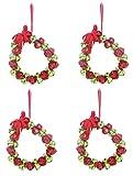 Vier 16cm rote und grüne Jingle Bell Wreaths mit rotem Bogen zum Aufhängen - Weihnachtsdekoration