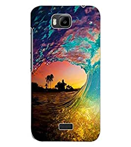 ColourCraft Beautiful Water Waves Design Back Case Cover for HUAWEI HONOR BEE