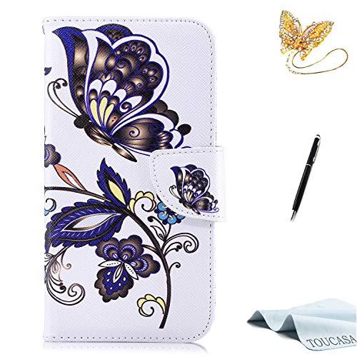 TOUCASA iPhone XS Handyhülle,iPhone XS Hülle, Brieftasche Flip etui Tasche 360 Grad Karte Halterung Kartenfächer extra Dünn Klapphülle Leinwand Farbmalerei Art füriPhone XS(Schmetterling)