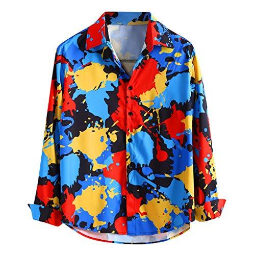 Herren Hawaiihemd Herren Hemd Print Langarm T-Shirt Mehrfarbig Hemden für Casual Fashion Button Down Langarm Hemd Langarmshirt Strand (XL, Rot) (Mens Hawaiian Fancy Dress Kostüm)