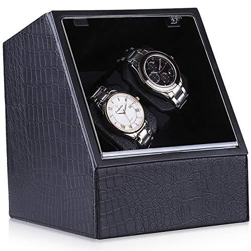 CRITIRON Uhrenbeweger für 2 Uhren aus Krokodilleder Muster Watch Winder Uhrenbox für Zwei Automatikuhren mit 4 Modi und Leiser Motor Schwarz