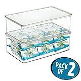 mDesign 2er-Set Aufbewahrungsbox mit Deckel für den Kühlschrank – 3,1 Liter Frischhaltedose und Gefrierdose aus Kunststoff, stapelbar – für Babynahrung & andere Lebensmittel – durchsichtig