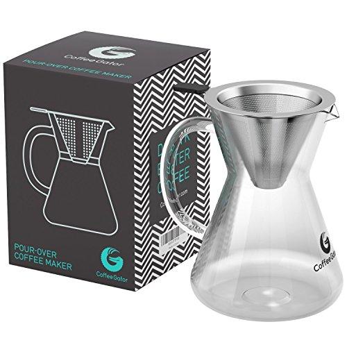 """Kaffeebereiter \""""Pour Over\"""" (Medium, Standard). Kaffeekanne mit Dauerfilter aus Edelstahl. Dripper zum Aufbrühen des Kaffees"""