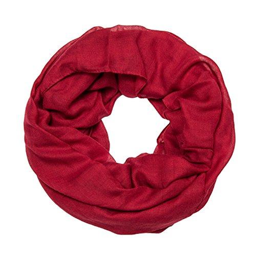 MANUMAR Loop-Schal für Damen einfarbig | feines Hals-Tuch in dunkel-rot als perfektes Herbst Winter Accessoire | Schlauch-Schal | Damen-Schal | Rund-Schal | Geschenkidee für Frauen und Mädchen
