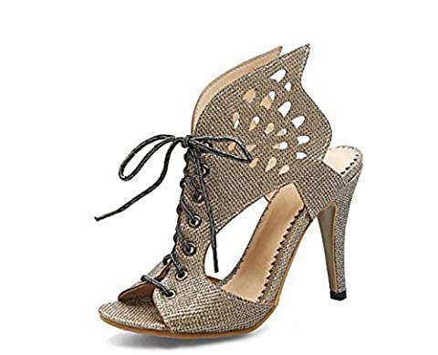 FARALY Hollow Wings Shape Sandals Femmes Chaussures Grande Taille 40-46 Femmes Talons hauts Pantoufles , gold , 42 (not returned)