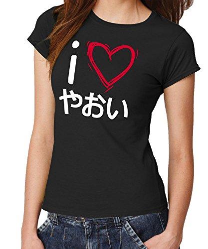 - I Love Yaoi - Girls T-Shirt Farbe Schwarz, Größe M (Girl Jäger Kostüm)