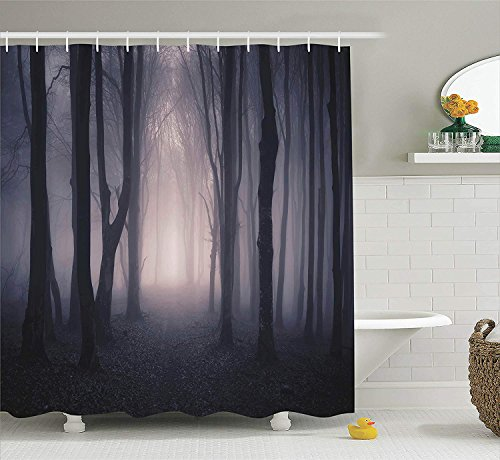 JIEKEIO Farm House Decor Shower Curtain, Path Through Dark Deep in Forest with Fog Halloween Creepy Twisted Branches Picture, Fabric Bathroom Set with Hooks, 60 * 72inch Extra Long, Pink and Brown (Forest Halloween Dark)