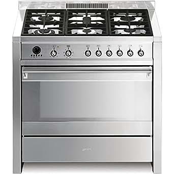 Smeg A1-7 Autonome Cuisinière à gaz A Acier inoxydable four et cuisinière - fours et cuisinières (Autonome, Acier inoxydable, Rotatif, Devant, Acier inoxydable, Électronique)