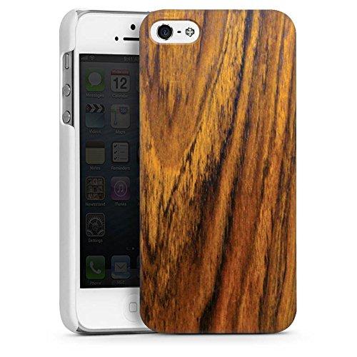 Apple iPhone 5s Housse Étui Protection Coque Look bois Bois de violette Sol en bois CasDur blanc