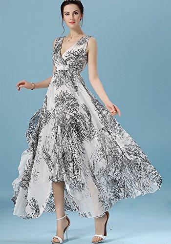 ONECHANCE Frauen reizvolles tiefes V Ansatz Sleeveless Stretchy hohes  TaillenChiffon SchwingenKleid Weiß