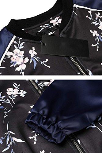 Bomberjacke SummerRio Satin Bunt Floral Langarm Stehkragen Fliegerjacke Mit Blumendruck Für Frühling Und Herbst Blau