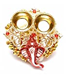 #4: One Roof Store Microfiber Decorative Ganesha Plate with Katori (11 cm x 12 cm x 3 cm, Gold and Red)