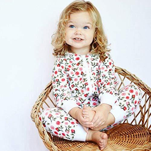 MHC~KJ Newborn Infant Kids Baby Girls Floral Hooded Zipper Long Sleeve Romper Jumpsuit Red Image 4