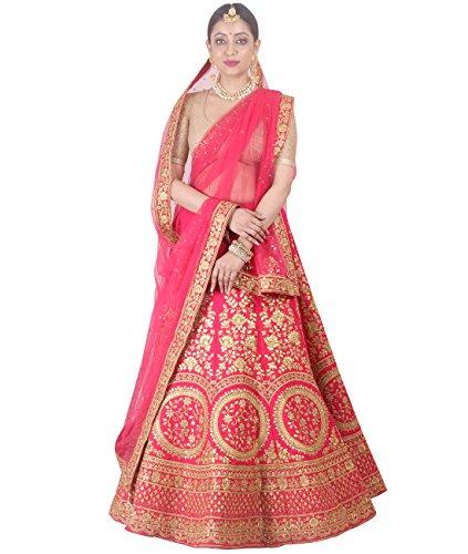Indian Ethnicwear Bollywood Pakistani Wedding Pink A-Line Lehenga Semi-stitched-DIVISL043