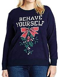 Jersey De Navidad Blusa Tops Carta De Señoras Modernas Casual Navidad  Imprimir Cuello Redondo Sudadera De ff2622480423