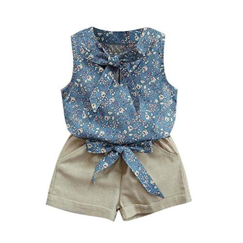 Internet Filles Enfants Été Sans manches Floral Débardeurs + Mélange de coton Bowknot Shorts (120(4/5 Ans), Bleu) Internet_8810