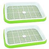 LVPY 2 Stücke Seed Sprouter tray bpa frei baumschule tablett für sämlinge weizen grassierer pflanzer hydroponics samen keimung tablett für garten home office,Grün + Weiß