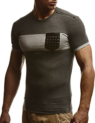 LEIF NELSON Herren T-Shirt Sweatshirt Slim Fit LN780 Anthrazit