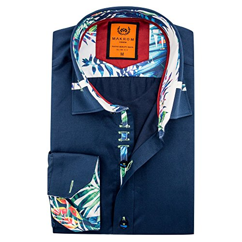 5aa4e6218d Oscar Banks Tropical Trim Collar Design Fashion Long Sleeve Smart Casual  Spring Men's Shirt Nevy & White SL6112 XLarge Navy