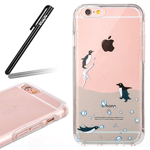 Coque Housse pour iPhone 6/6S, iPhone 6S Coque Silicone Ultra Mince Etui Combo Housse, iPhone 6 TPU Coque Soft Etui en Silicone,iPhone 6/6S Silicone Transparent Case TPU Cover, Ukayfe Etui de Protecti pingouin natation