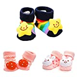 Pack of 3 Pairs Baby Socks Anti-Slip Grip Soles Cozy Cartoon Newborn Baby Socks (M:6—18 months, As the picture 2 shown)
