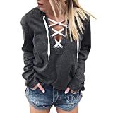 OIKAY Pullover Damen Tumblr Frauen Hoodie Sweatshirt Lace Up Langarm Crop Top Coat Sport Pullover Tops