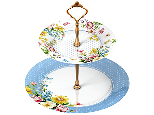 "Katie Alice ""English Garden"" 2 Tier Porcelain Cake Plate Stand by Creative Tops"