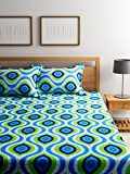 #6: Bombay Dyeing Elements 120 TC Polycotton Double Bedsheet with 2 Pillow Covers - Blue