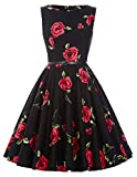 Women's Rockabilly Hepburn Style Full Skirt Dresses Party Wedding Dress(25,M)