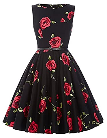 50er jahre vintage rockabilly kleid damenkleider blumenkleid swing kleid sommerkleid knielang Größe 2XL CL6086-25