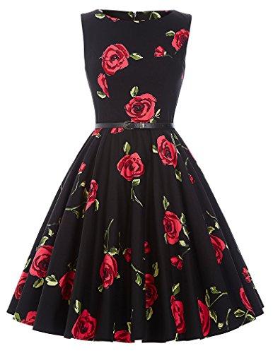 Blumen-kleid (50er jahre vintage rockabilly kleid petticoat partykleid blumen kleid hepburn stil swing kleid Größe XL CL6086-25)