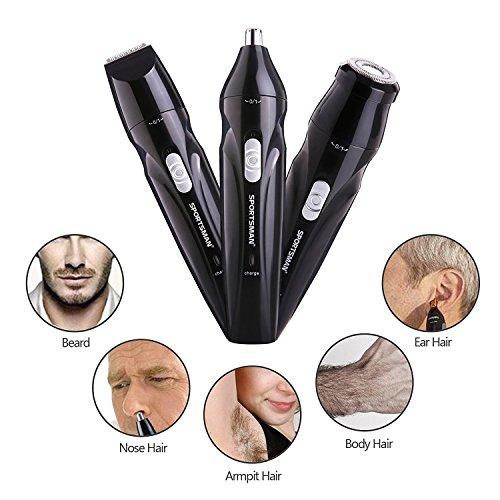 WINLINK 3 en 1 USB Rechargable à 360 ° Nez Oreille Tondeuse Electrique Barbe Entretien Aisselles Dissolvant Rasoir Cheveux Visage Raser Tondeuse Kit