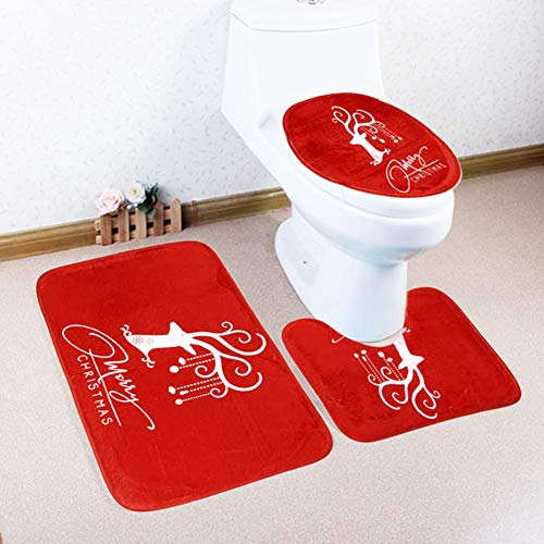Rubyu Toilettenmatte 3 Set Weihnachtsmuster rutschfest Matte Sockel Wolldecke + Deckel Toilettendeckel Matte + Badematte Red Christmas Deer Badezimmer Teppich (Deer Wolldecke)