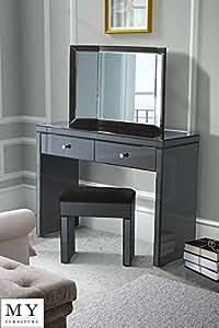MY-Furniture - Coiffeuse/console style V?nitien en verre noir haute brillance + miroir triptyque pliable + tabouret