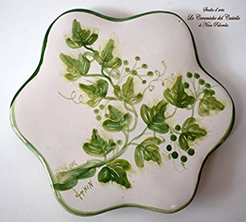 Trivet / Chopping Board Ivy Style Decorated for Kitchen Ceramic Unique Manufact Handmade Le Ceramiche del Castello 100% Made in Italy dimensions 17 x 17