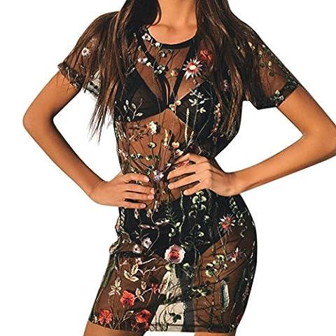 DAYLIN Women Floral Embroidery Bodycon Mesh Top Sheer Mini Dress