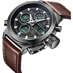 Reloj,Reloj deportivo de moda resistente al agua,Reloj analógico y digital, LED, multifunción, con alarma. Reloj de pulsera de cuero marrón