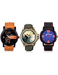 Latest Fashionable Casual / Formal Watches For Mens And Boys Combo Of 3 (Brown, Rust And Black) By Meclow