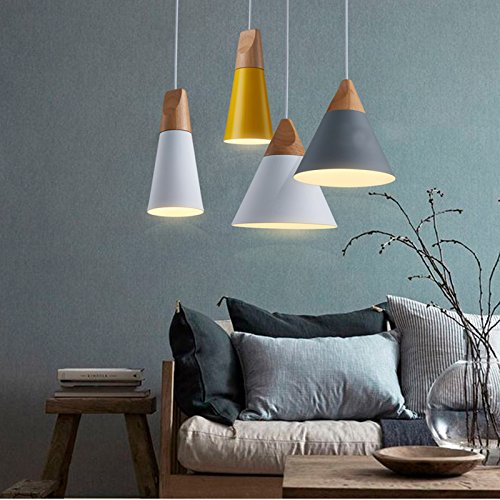 CALISTOUK Ceiling Pendant Lights Lamp E27 Hanging Light For Kitchen Living Room Coffee Bar Dinning With Modern Wood Style Luxury Looking