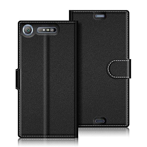 Sony Xperia XZ1 Hülle, Coodio Sony Xperia XZ1 Lederhülle, Xperia XZ1 Ledertasche, Wallet Brieftasche Tasche Schutzhülle mit Magnetverschluss Kartenfächer Standfunktion für Sony Xperia XZ1, Schwarz (Tasche Brieftasche)