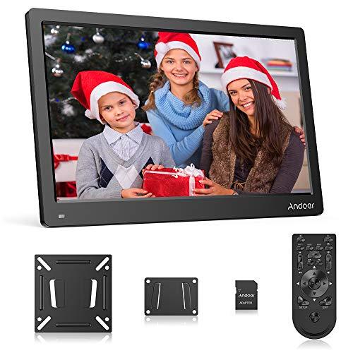 Andoer 13,3 Zoll Digitaler Bilderrahmen 1080P IPS Bildschirm Unterstützung Kalender/Uhr / MP3 / Fotos/Video Player Wandhalterung + 8 GB Speicherkarte