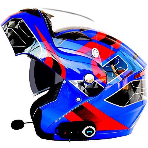 EP-Helmet Casque De Moto Intelligent Bluetooth, Musique, Mains Libres, sans Bruit, Multi-Fonctionnel Anti-Brouillard Double Miroir Casque, Équipé De La Fonction FM Racing, Hors-Route Casque,D,XL