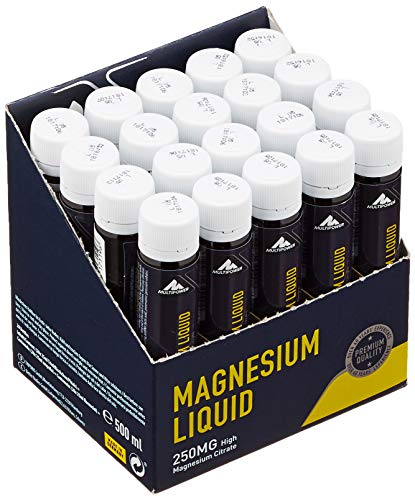 Multipower Supplements Magnesium Liquid im 20er Pack (20 Ampullen / insg. 500 ml) - Hochkonzentriertes Magnesiumcitrat unterstützt die Regeneration - Mineralstoff beugt Muskelkrämpfen vor