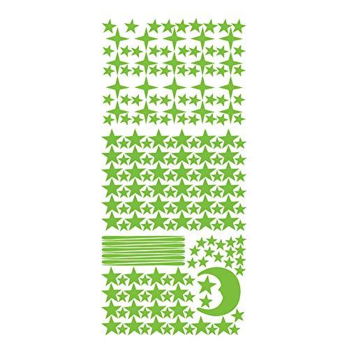 trick es Day, 3Pcs Luminous Star Moon Meteor Wall Sticker Glow in Dark Kids Living Room Decor-Green ()