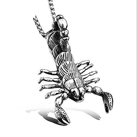 Pour des hommes Collier Chaîne Acier au titane Scorpion Pendentif A