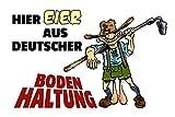 ComCard Eier aus Deutscher Bodenhaltung Lederhosen Schild aus Blech, Lustig, Comic, Metal Sign